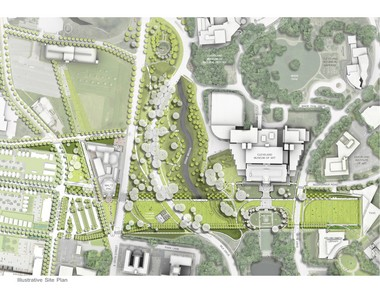 A detail of the plan for the proposed Nord Family Greenway shows how the long, rectangular open space would slice across the northern portion of the Fine Arts Garden, just south of the Cleveland Museum of Art, without major changes to the existing landscape. The bulk of the work involves clearing under-maintained and under-used slopes to the west, descending to Martin Luther King Jr. Drive, and clearing brush and small trees along the Doan Brook Valley, or Rockefeller Park.