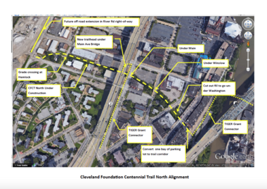 A Cleveland Metroparks graphic details the north section of the Lake Link Trail, to be built starting this fall.