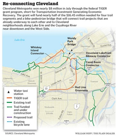 A Plain Dealer map based on information from Cleveland Metroparks illustrates the impact of the TIGER grant on trail networks in the Flats.