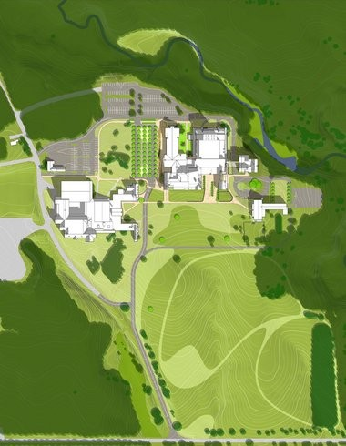 A site plan shows the expansion and renovation of the main academic core, top right, at Hawken School.