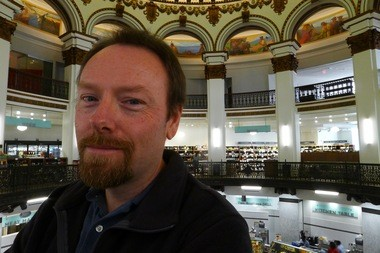 Karl Brunjes inside the Cleveland Trust Rotunda.