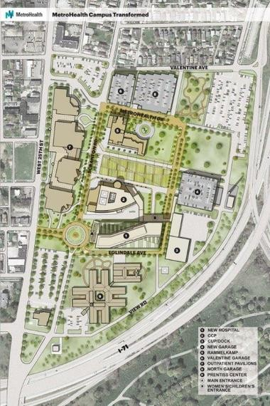 The MetroHealth main campus plan shows that the county health system would erase roughly 25 percent of its existing campus and build a new main hospital, while creating open spaces that would leave formerly integrated buildings as freestanding structures.
