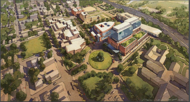 A bird's eye view rendering of the proposed MetroHealth main campus transformation created by HKS emphasizes the glassy tower of a new main hospital tower, which has yet to be designed in detail. The perspective taken by the image de-emphasizes portions of the MetroHealth vision that are even less well defined.