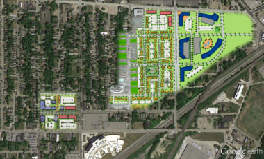 A map of the proposed New Economy Neighborhood and Innovation Square, which will be developed around Opportunity Corridor in the Fairfax neighborhood.