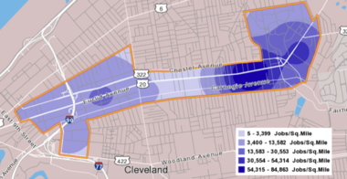 A map of job density in the HealthLine corridor, prepared by the Center for Population Dynamics at Cleveland State University.