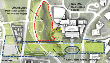 A map shows the Nord greenway and Doan Brook projects now underway. Courtesy Sasaki Associates, Cleveland Museum of Art.