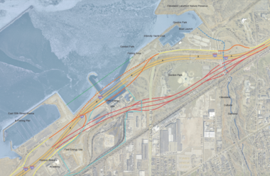 A concept shared by the Green Ribbon Coalition for the FirstEnergy lakefront site calls for moving the I-90 Shoreway to the south edge of the 54-acre site. Cleveland Tomorrow, a forerunner of the Greater Cleveland Partnership, proposed a similar idea in the early 2000s.