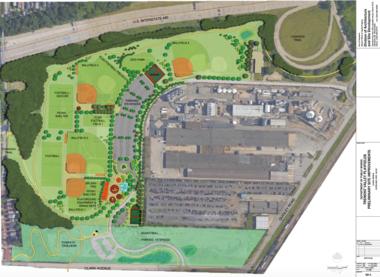 A City of Cleveland plan outlines the design of a $2.7 million project to improve Clark Field that will be pursued in conjunction with construction of Stage 3 of the Towpath Trail.