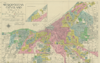 """A 1936 federal Homeowner's Loan Corporation map defines """"hazardous"""" areas for mortgage lenders in pink. Those portions of Cleveland continue to struggle for lack of investment today, 81 years later."""