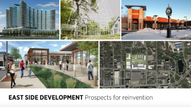 A slide from Tuesday's panel discussion in Cleveland Heights on the future of Cleveland's East Side included images of bright spots of redevelopment.