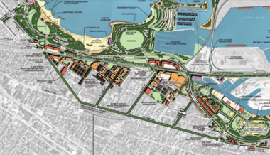 The portion of Cleveland's 2004 lakefront plan relevant to the outcome of the $100 million re-do of the West Shoreway. This original concept - admittedly lacking in detailed engineering - spurred hopes that the West Shoreway could be connected to the Detroit Shoreway neighborhood with intersections. That vision was discarded due to high costs and opposition from suburban commuters. What got built is a watered-down echo of this vision.