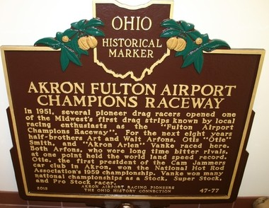 This historical plaque will be dedicated at Akron's Fulton Airport.