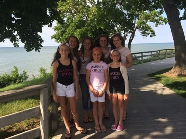 (Front to back, left to right): Sophia Stack, 11; Emilie Stack, 10; Georgia Weeden, 11; Lily Weeden, 14; Maddie Weeden, 16; Zoe Stack, 14; Brie Horvath, 17; and Maggie Garcia, 23 (not shown) are the Market Chicks of the annual Summer Market in Avon Lake.