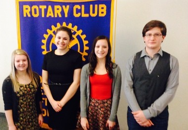 4-Way Speech Contest winners, from left, Megan Peepers, Maggie Bender, Abbie Armbrect, Pierce Morgan