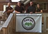 The locally-owned Avon Brewing Company will open next month. Pictured (L to R) are members of the management team, George Zilka, Dan Weaver, Brian Weaver and Becky Seegert.