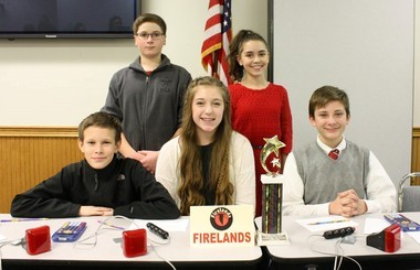 Firelands academic challenge team placed first in grades 7 and 8. From left, front row, James Steindl, Renee Clippinger, Sam Solowiej. Back row, Spencer Deremer, Amaris Madding. Not pictured, Maggie Edwards, Gemma Hager, Daniel Ohle.
