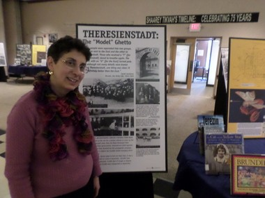Louise Freilich, director of the Face to Face program at Congregation Shaarey Tikvah, in the synagogue's Holocaust museum.