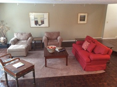 The furnishings in this Shaker Heights condo's living room came from The Gathering Place Warehouse.