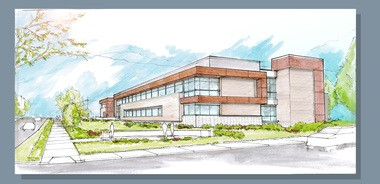 A rendering of the Encore Medical Center, being built at the corner of Richmond Road and Chagrin Boulevard in Beachwood.
