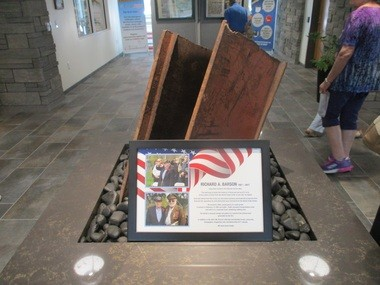 A 9-11 memorial is located on the new fire station's second floor, featuring a beam from the World Trade Center in New York City. Late resident Richard Barson, who had been in the steel business, secured the relic for Beachwood.