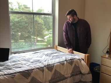 BW junior resident assistant Matthew Sycle was among the first to move into the new Front St. Residence Hall.
