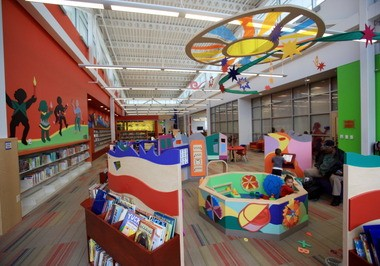 The children's area at the Cuyahoga County Public Library's Warrensville Heights branch is designed to foster interaction and creative play between parents and kids.