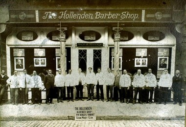 George Myers' Hollenden Barber Shop, circa 1900-1910. Photo courtesy of The Western Reserve Historical Society. Myers employed more than 30 people in his enterprise, which used the most modern equipment of the time.