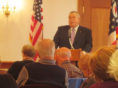 Brecksville Mayor Jerry N. Hruby speaks during his 2013 Conversations with the Mayor event at the Brecksville Human Services Center in this file photo.
