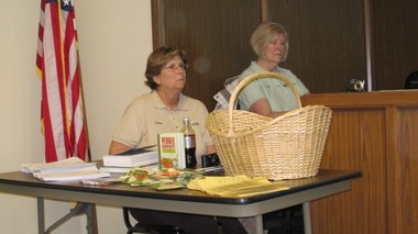Chippewa Garden Club members Kathy Ziemba and Noreen Butano attend an informational meeting April 13 for the Greene Acres Community Garden in Broadview Heights.