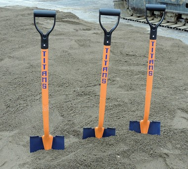 Special Titans shovels stood at the ready before the groundbreaking ceremonies.