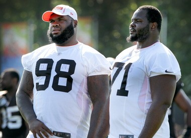 The defensive line, featuring tackles Phil Taylor, left, and Ahtyba Rubin, right, is considered the strength of the Cleveland Browns' defense.