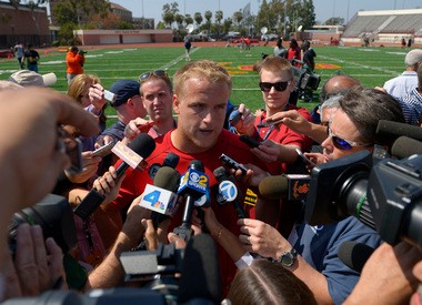 Matt Barkley's pro day workout attracted plenty of media attention to the Southern California campus on Wednesday. Browns offensive coordinator Norv Turner was also present, and said he was impressed with the Trojans' QB.