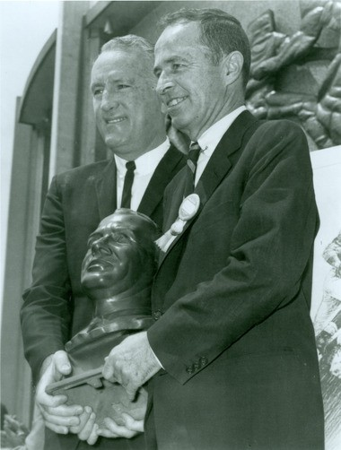 Late Rams owner Dan Reeves, right, was inducted into the Pro Football Hall of Fame in 1967. Reeves moved the Rams from Cleveland to Los Angeles in 1946.