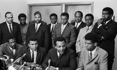 On June 4, 1967 at 105-15 Euclid Ave. in Cleveland, a collection of some of the top black athletes in the country met with -- and eventually held a news conference in support of -- world heavyweight boxing champion Muhammad Ali (front row, second from left), about Ali's refusal to be drafted into the U.S. Army in 1967.