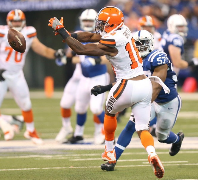 Browns wide receiver Kenny Britt tips a pass that was intercepted while he was defended by Indianapolis Colts inside linebacker Jon Bostic (57) on the play in the second half on Sept. 24. Britt has been a disappointment as a free-agent signing.