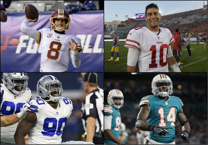 199849b92 Clockwise from top left, Washington quarterback Kirk Cousins, San Francisco  QB Jimmy Garoppolo, Miami wide receiver Jarvis Landry and Dallas defensive  end ...