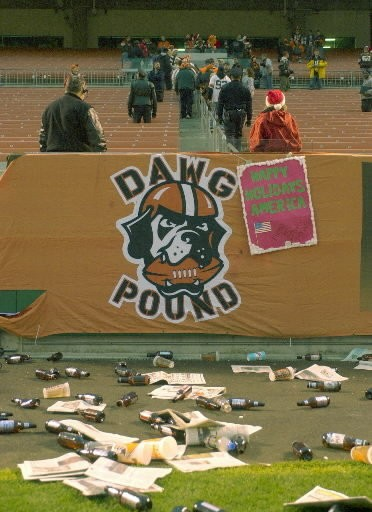 Fans leave the Dawg Pound area at Cleveland Browns Stadium after the Browns' 15-10 loss to the Jacksonville Jaguars Sunday, Dec. 16, 2001, in Cleveland.