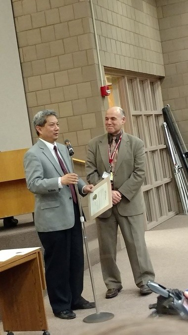 Cleveland Clinic internal medicine doctor Dhia Aldoori was honored at the April 11 Brunswick City Council meeting