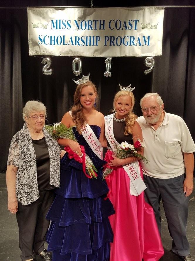Janice and Don Moll, directors of the Miss North Coast Scholarship Program, congratulate winners Jordan Meyer and Madison Yuzwa.
