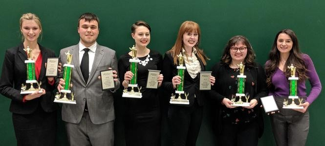 Highland High School's national qualifiers in speech and debate, pictured from left, are Kennedy Shelton, Evan Buck, Emma Crone, Taylor Headrick, Olivia Russo and Madelyn MacMurray.