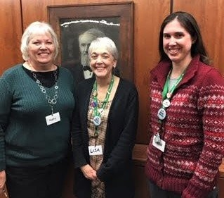 Kathy Petras, left, Lisa Rienerth and Lauren Kuntzman are members of the genealogy team at the Medina County District Library.