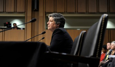 Homeland Security Secretary Janet Napolitano, shown testifying on Capitol Hill in Washington on Wednesday, said in a letter to the Senate Appropriations Committee released Wednesday that budget cuts would affect aviation security, roll back border security and hamper disaster response times.