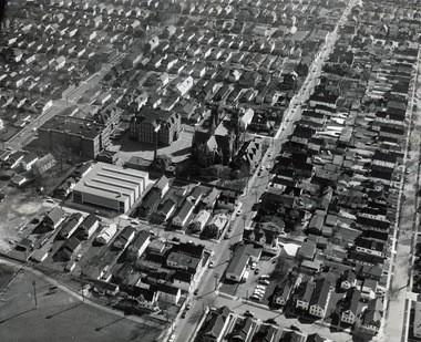 """An aerial view of the Slavic Village neighborhood in 1962. Often called """"ground zero"""" in the nation's foreclosure crisis, the Cleveland neighborhood still boasts a strong community development corporation, recreation facilities and businesses including the corporate headquarters of Third Federal Savings and Loan. The city is investing in a road-improvement and streetscape project along Fleet Avenue."""