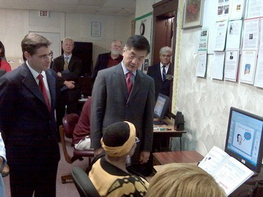 Former Commerce Secretary Gary Locke, right, shown here in 2009 visiting the Ashbury Senior Computer Community Center in Cleveland's Glenville neighborhood. The center was among the sites of OneCommunity programs aimed at increasing computer literary and Internet access for underserved populations. Most of those programs will end by this September because of a lack of funding. With Locke was Julius Genachowski, left, chairman of the FCC, who recently announced his resignation