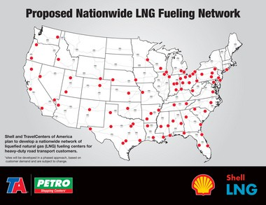 TravelCenters of America LLC and Shell Oil Co. envision a cross-country network of truck stops carrying liquified natural gas. The first LNG fueling lanes could open within a year at TravelCenters, TA or Petro facilities.
