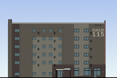 A rendering shows the renovated exterior of the former Circle Vistas building at East 115h Street and Euclid Avenue in Cleveland's University Circle neighborhood.