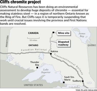 Cliffs suspends Ontario chromite mine environmental work