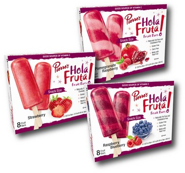 Pierre's Ice Cream's Hola Fruta! Fruit Bars are available in strawberry, raspberry blueberry, and pomegranate raspberry flavors, and are 50 to 60 calories each.