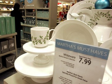 A display of Martha Stewart Collection cups, bowls and tableware is shown in this file photo from the Macy's store at Kenwood Towne Centre in Cincinnati. Macy's signed an agreement to be the exclusive retailer for Martha Stewart branded items in the kitchen, bathroom and bedroom, and filed suit against Martha Stewart LIving Omnimedia after it signed a similar competing agreement with JCPenney.