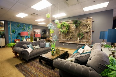 The lobby of Arhaus Furniture's offices in Walton Hills is as unique as one of its showrooms.